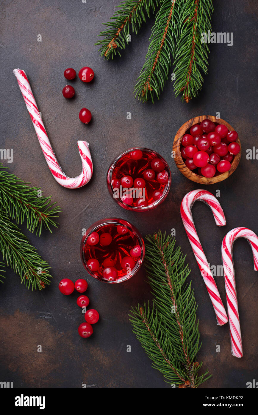 Cranberry drink and fresh berries.   - Stock Image