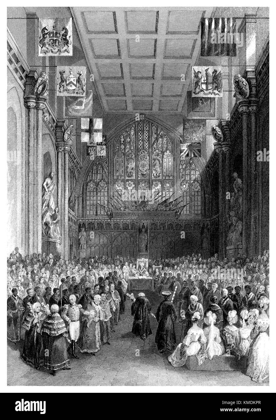 19th century steel engraving of the interior of Guildhall, London, during the inauguration of the Lord Mayor of - Stock Image