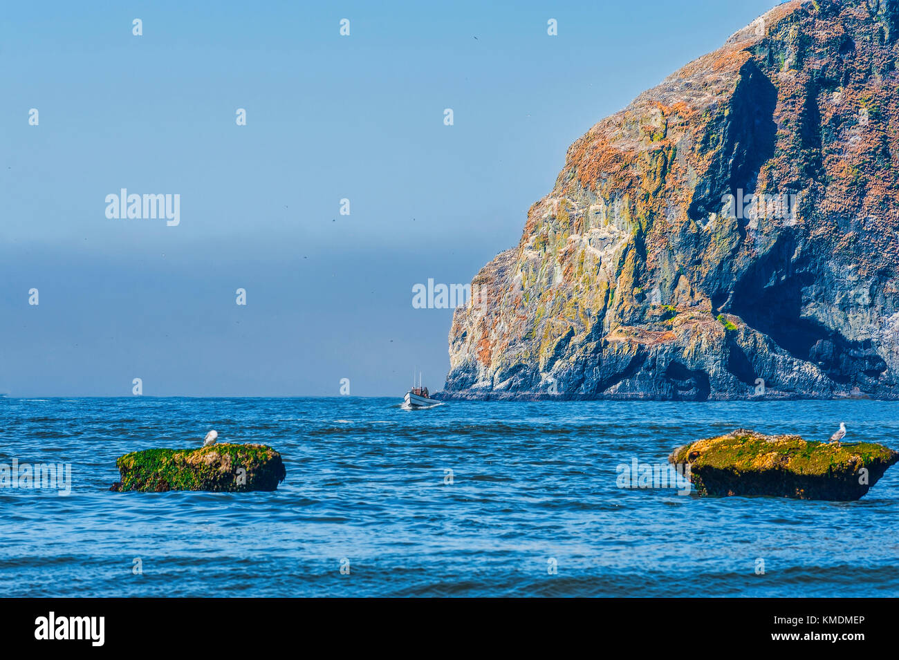 Pacific City, Oregon, USA - July 2, 2015: A dory boat passes Haystack Rock making it's approach to landing on - Stock Image