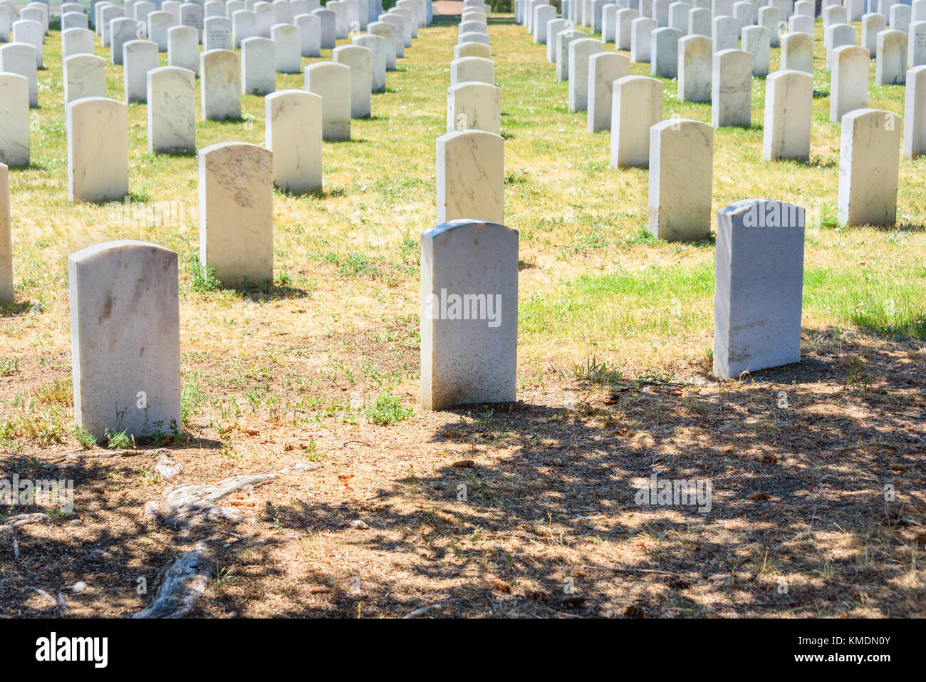 Custer National Cemetery at Little Bighorn Battlefield National Monument, Montana, USA. Stock Photo