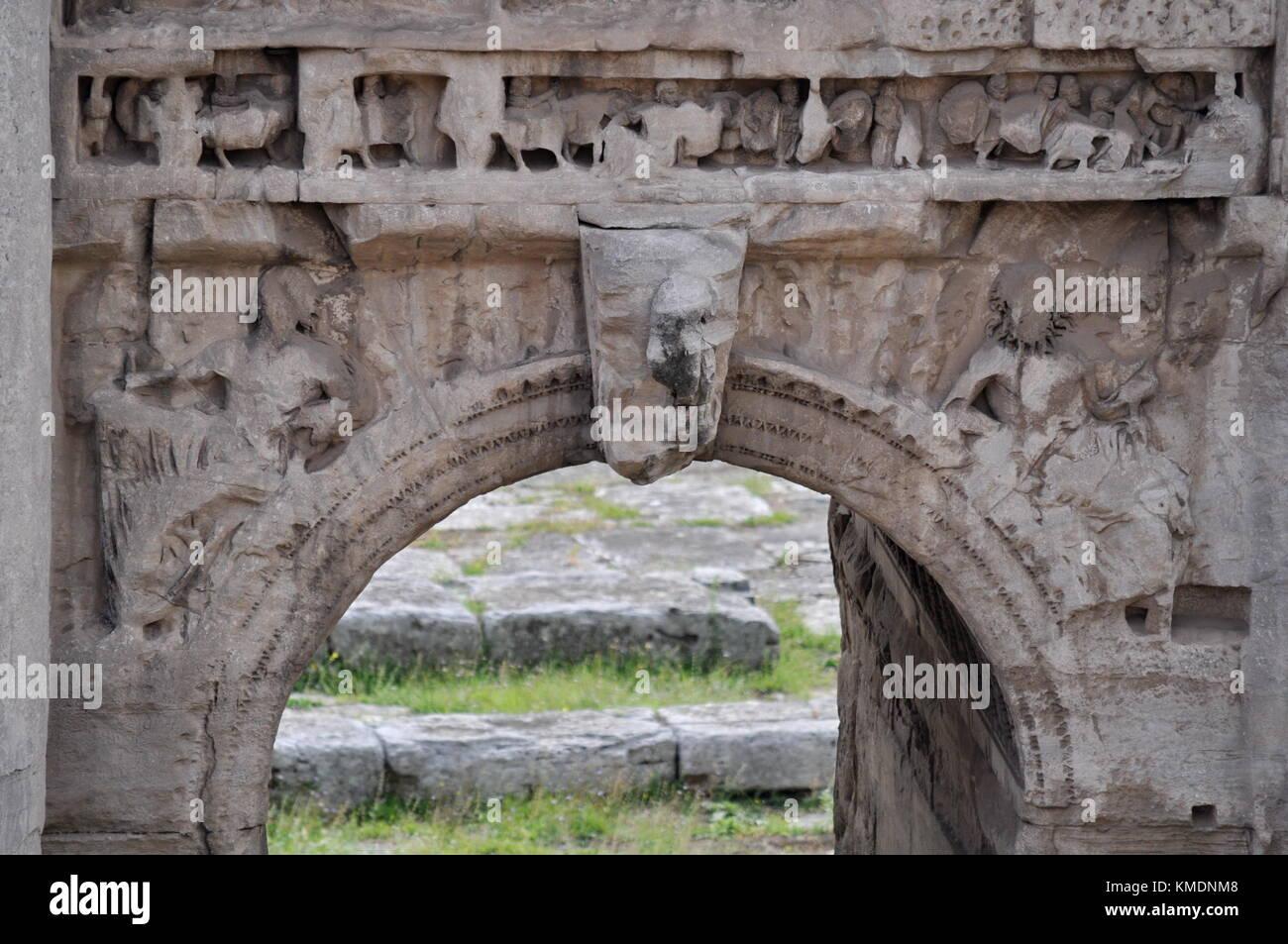 Triumphal Arch of Septimius Severus in the Roman Forum, Italy - Stock Image