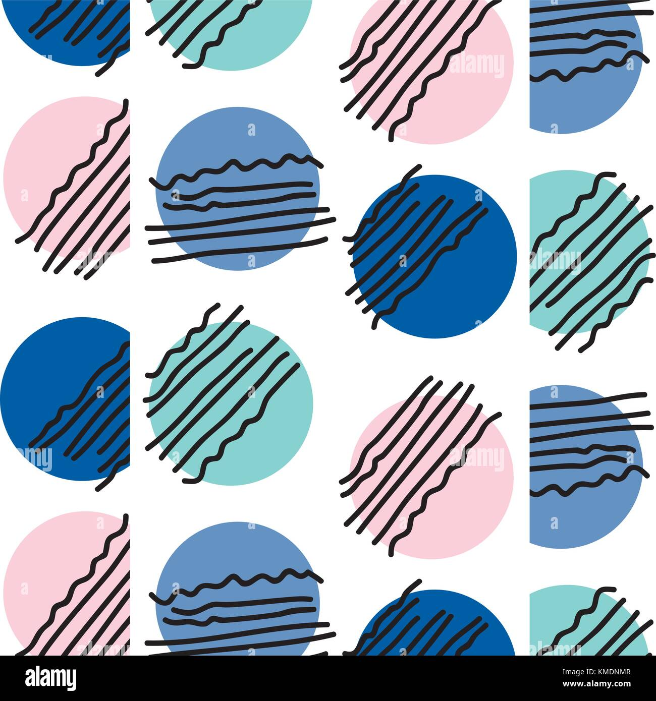 abstract circle memphis style background - Stock Image