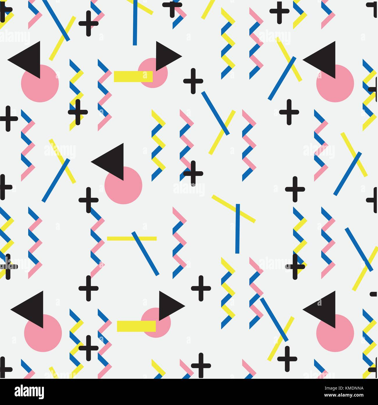 geometric figures abstract memphis style background - Stock Image
