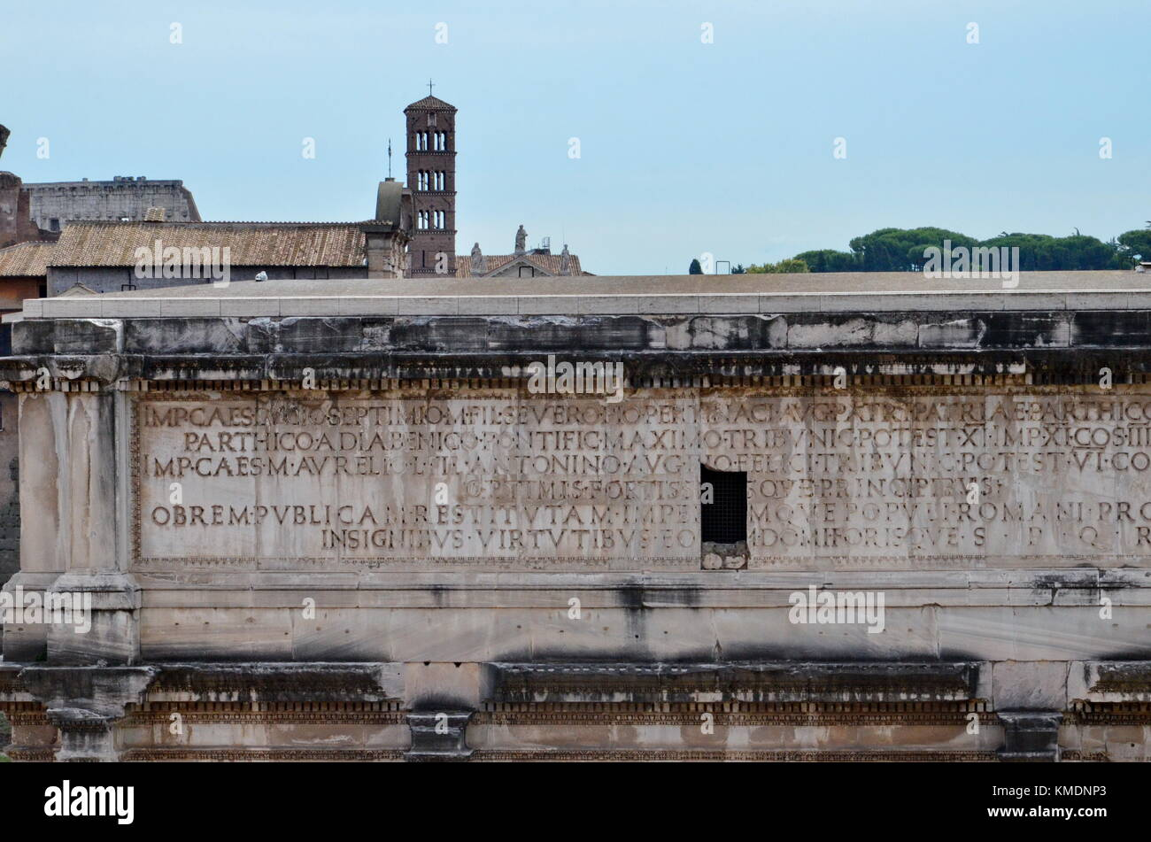 Triumphal Arch of Septimius Severus in the Roman Forum, Italy - Stock Image