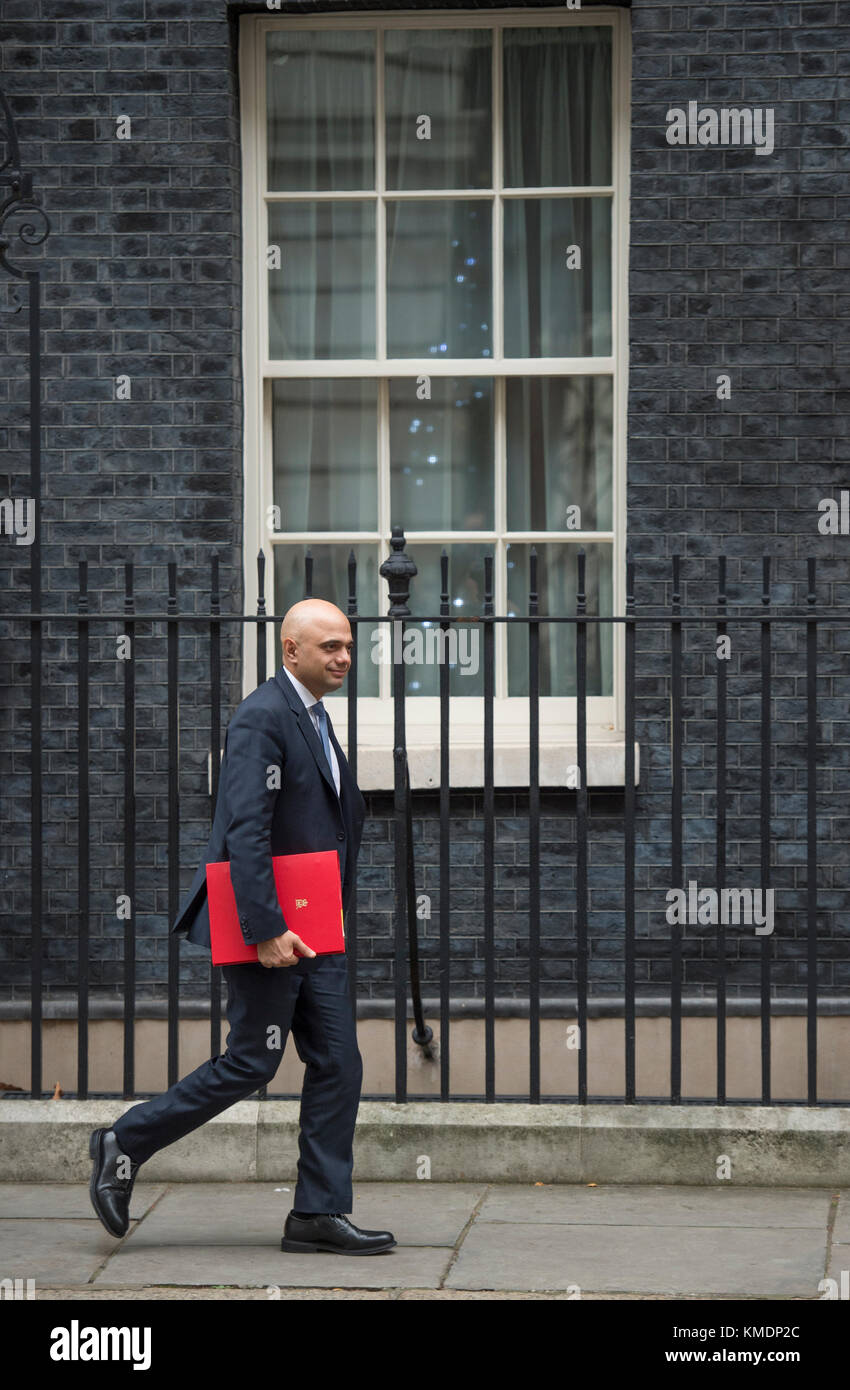 Local Government Minister Sajid Javid leaves 10 Downing Street after the weekly cabinet meeting on 5 December 2017. - Stock Image