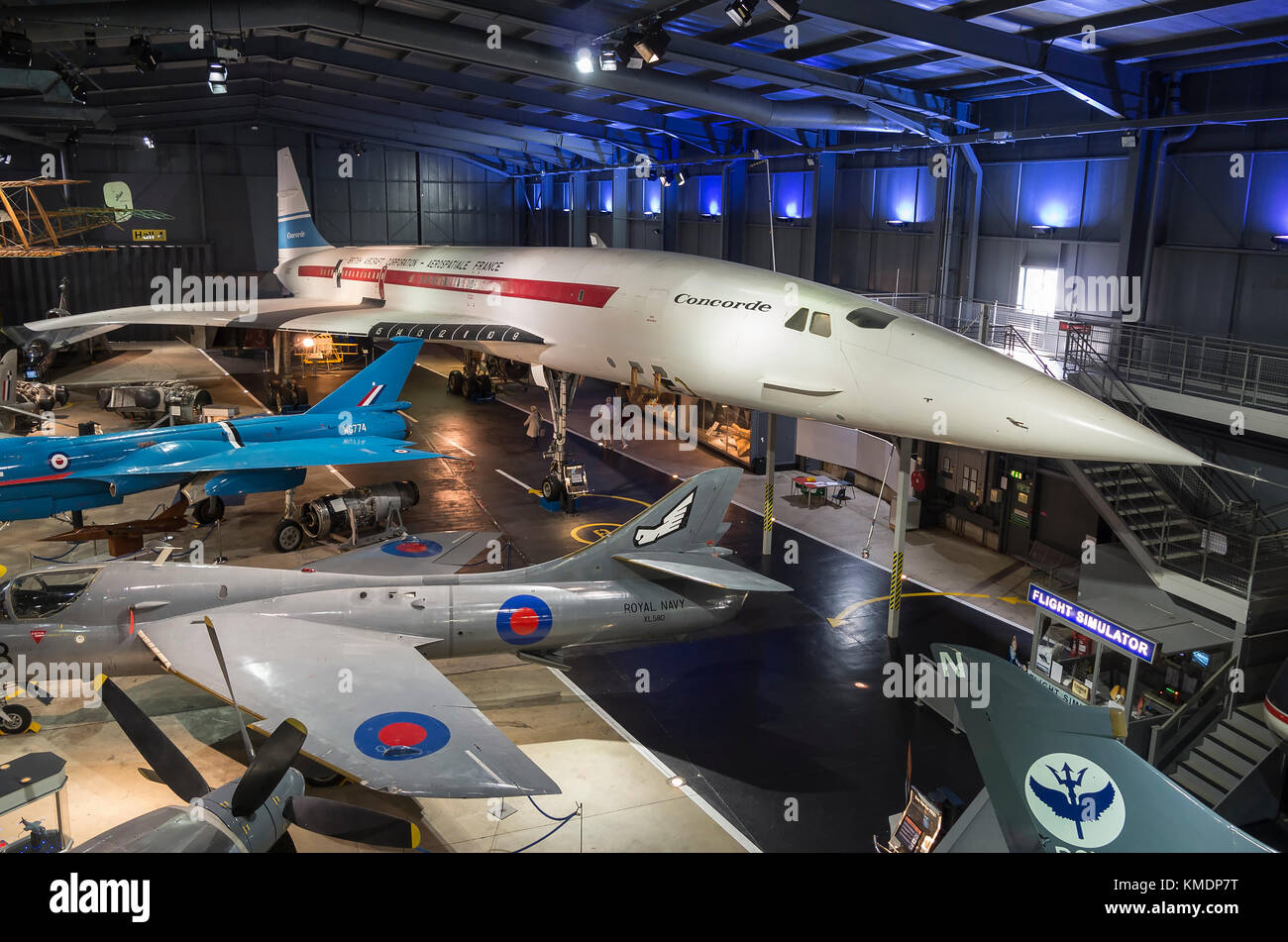 A general aeiral view inside the Aerospace hangar at the IWM museum at Duxford Cambridgeshire England UK showing - Stock Image
