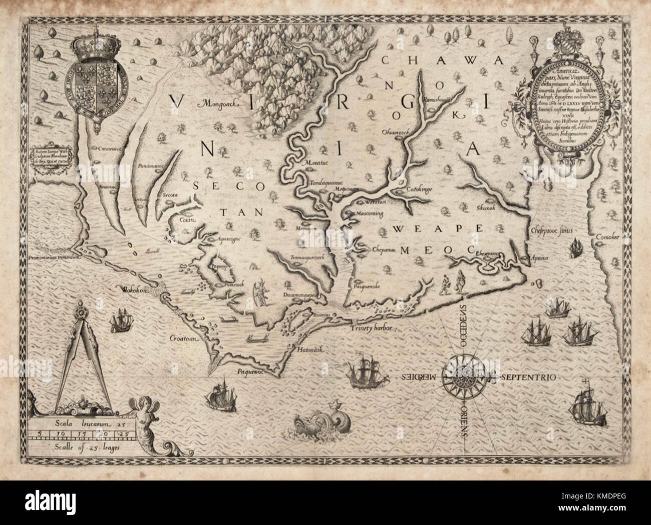 Map of the coast of Virginia and North Carolina, drawn 1585 ... Saint Augustine Roanoke Virginia Map on