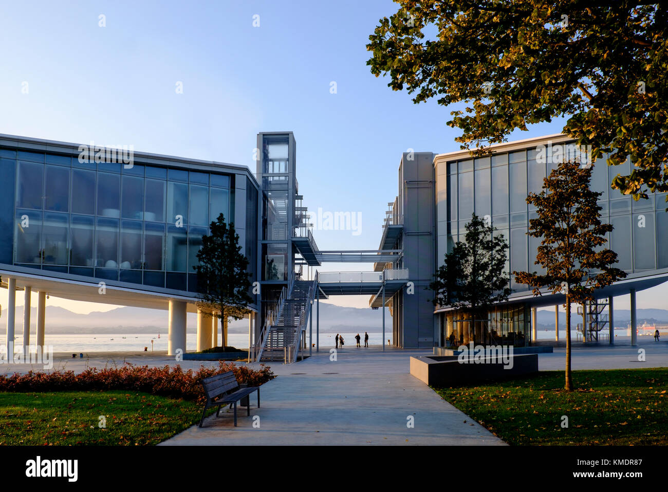 The Centro Botin, designed by Renzo Piano, overlooking the bay at  Santander, Spain, Europe - Stock Image