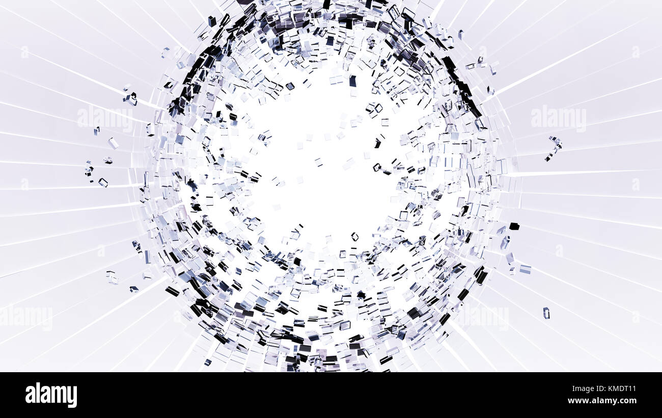 Bullet hole: Cracked and Shattered white glass on white Stock Photo