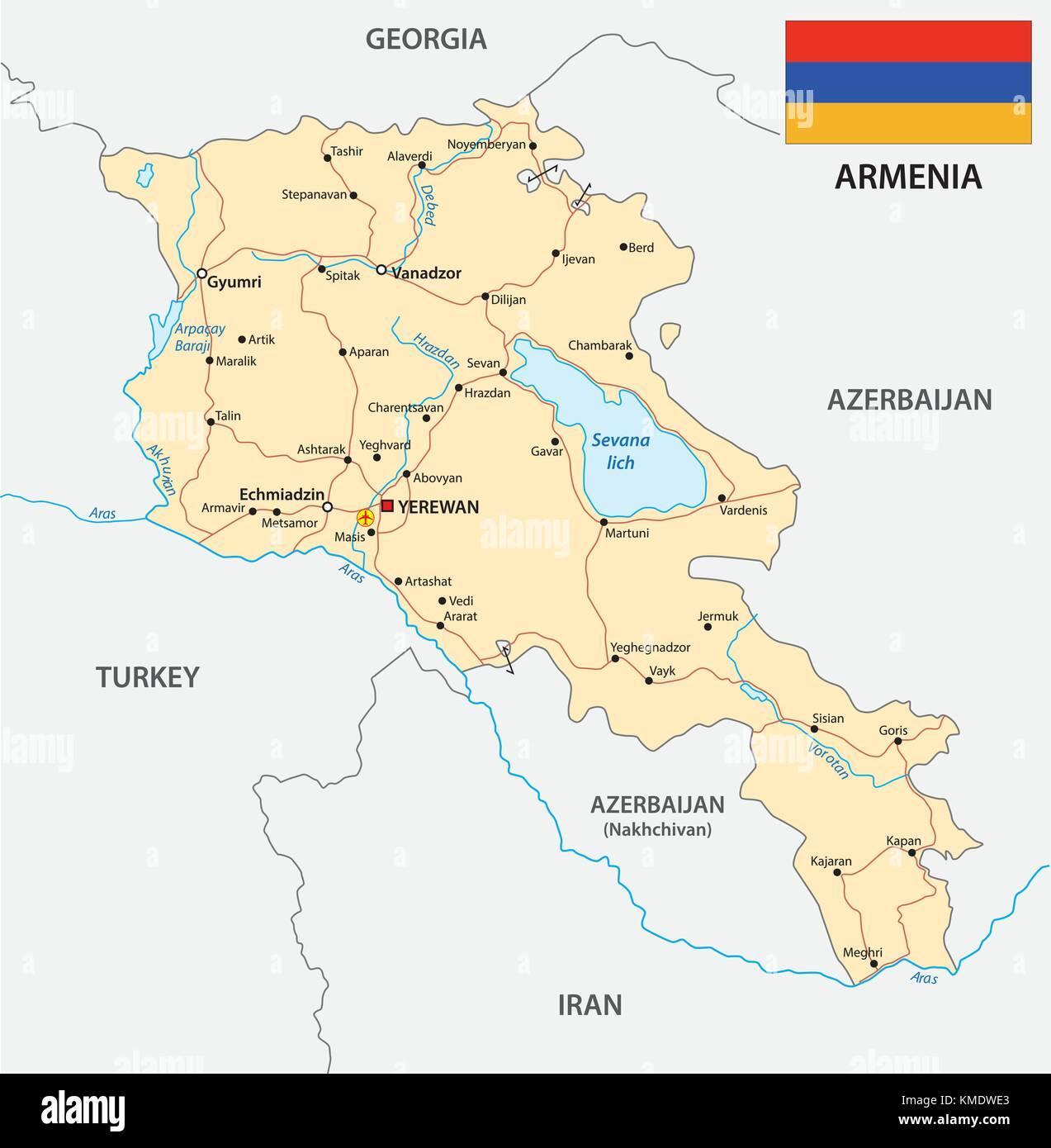 armenia road vector map with flag - Stock Image