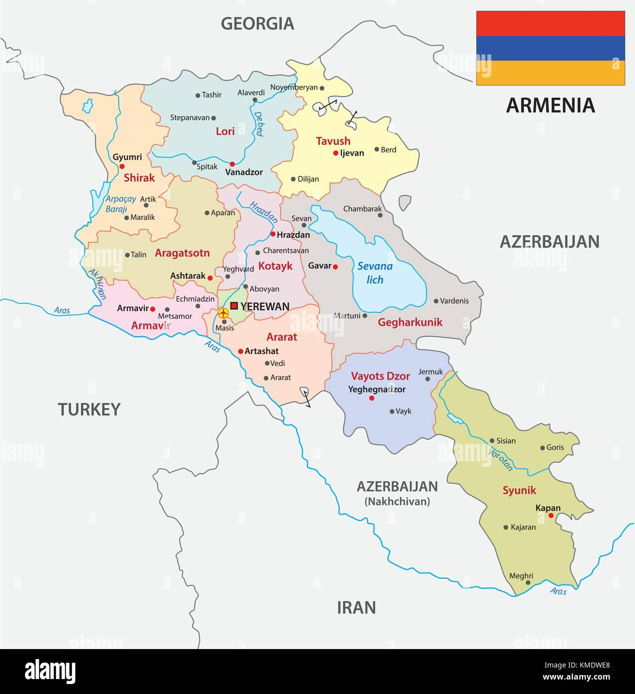 armenia administrative and political vector map with flag - Stock Image