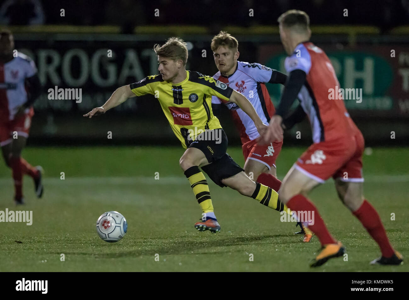 Jordan Thewlis (Harrogate Town) runs at the Kidderminster Harriers defence, during the National League North game. Stock Photo