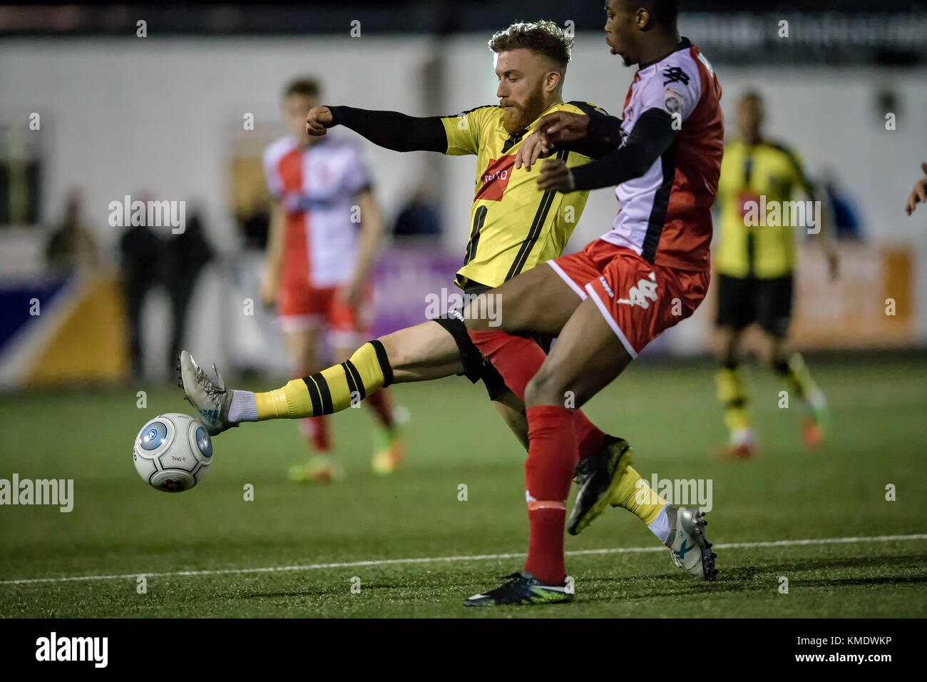 George Thomson (Harrogate Town) challenges for the ball during the National League North game against Kidderminster Stock Photo