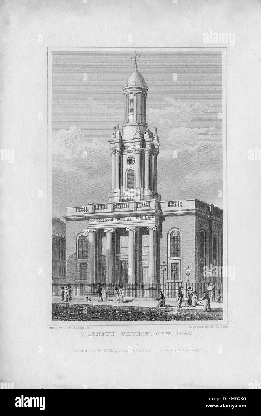Trinity Church, New Road, engraving 'Metropolitan Improvements, or London in the Nineteenth Century' London, - Stock Image