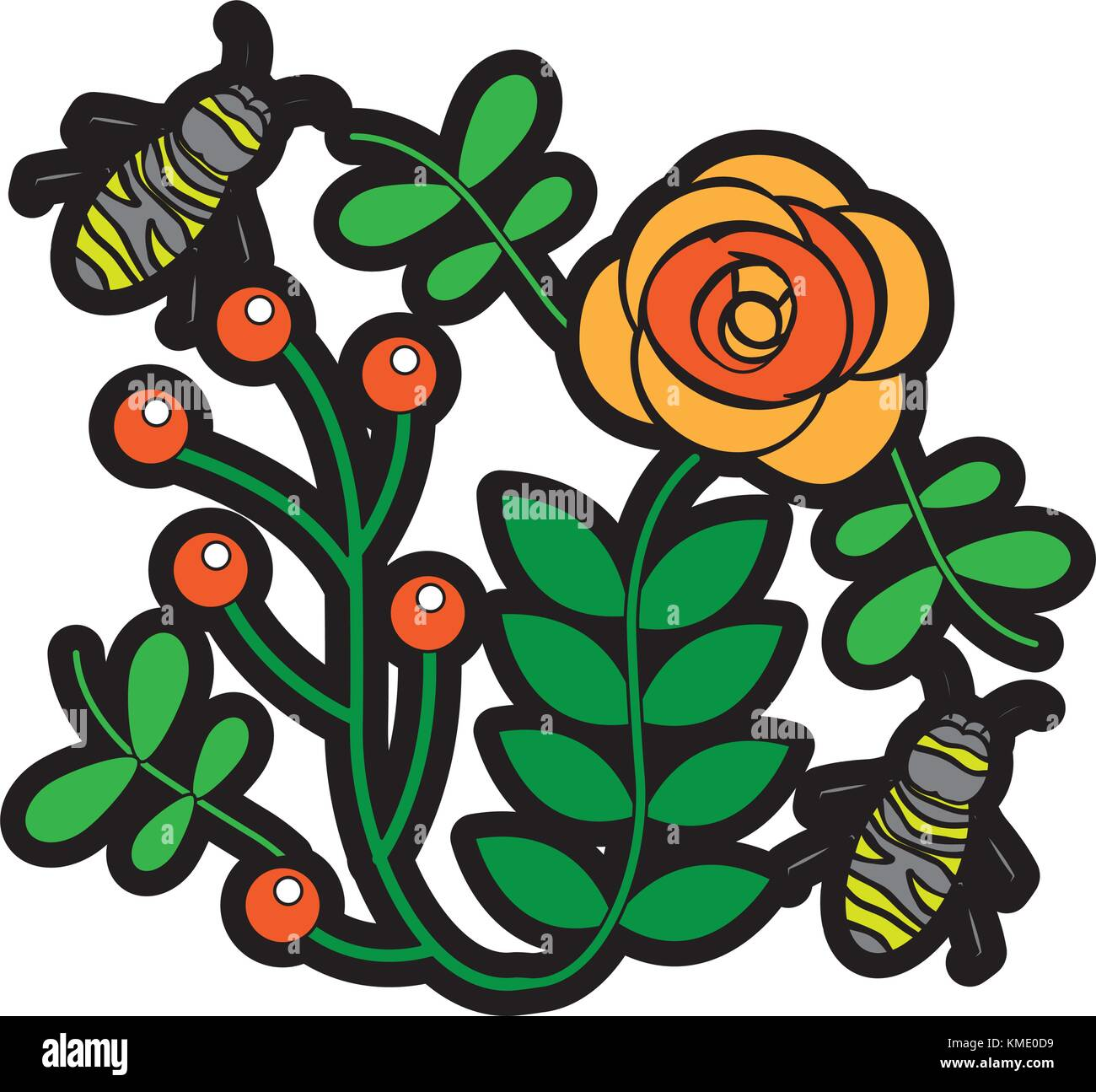 bees flying over some flowers branch leaves Stock Vector