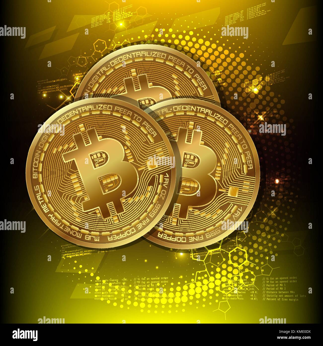 Golden bitcoin, digital money. Cryptocurrency concept. Ready template advertising. Vector illustration - Stock Image