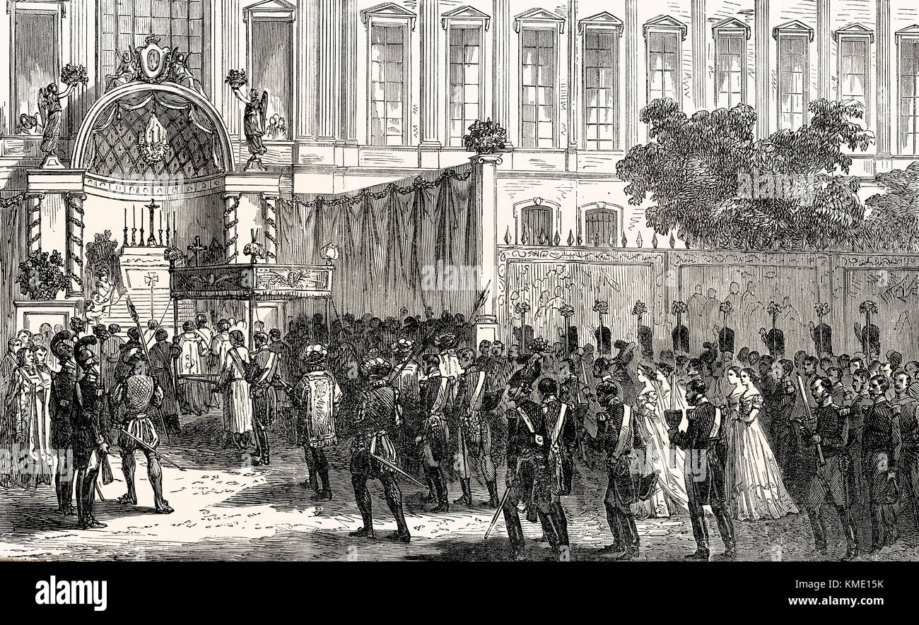 A Jesuit procession at Paris, France, 19th century - Stock Image