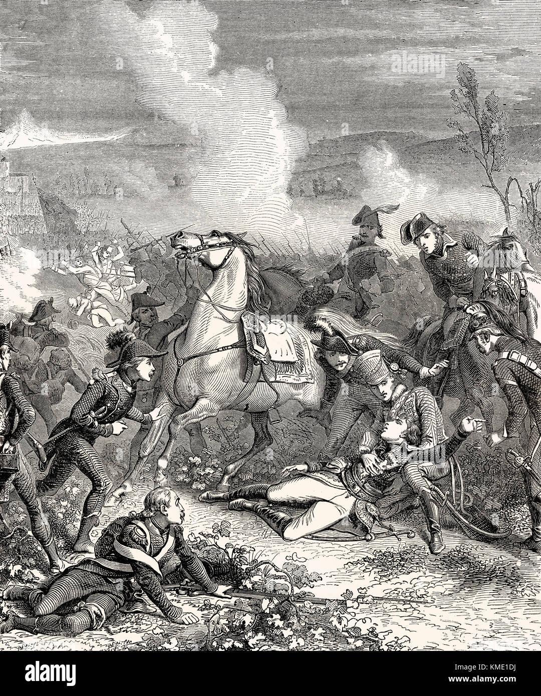 The death of Louis Charles Antoine Desaix, Battle of Marengo, 14 June 1800 - Stock Image