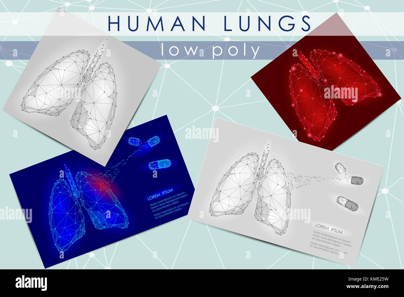 Human Internal Organ Lungs. Low Poly technology design. White Gray color polygonal triangle connected dots. Health - Stock Vector