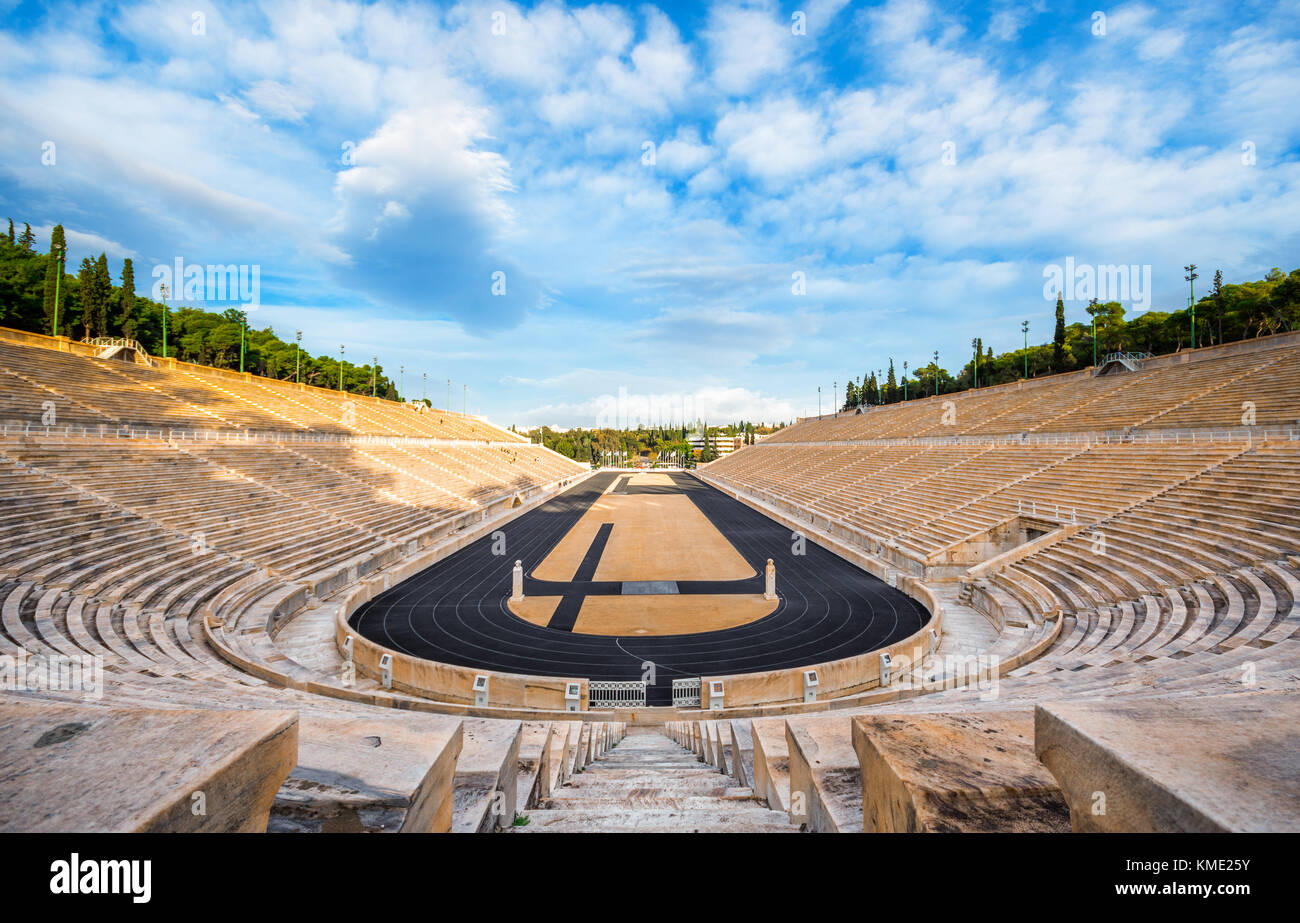 Panathenaic stadium in Athens, Greece (hosted the first modern Olympic Games in 1896), also known as Kalimarmaro Stock Photo