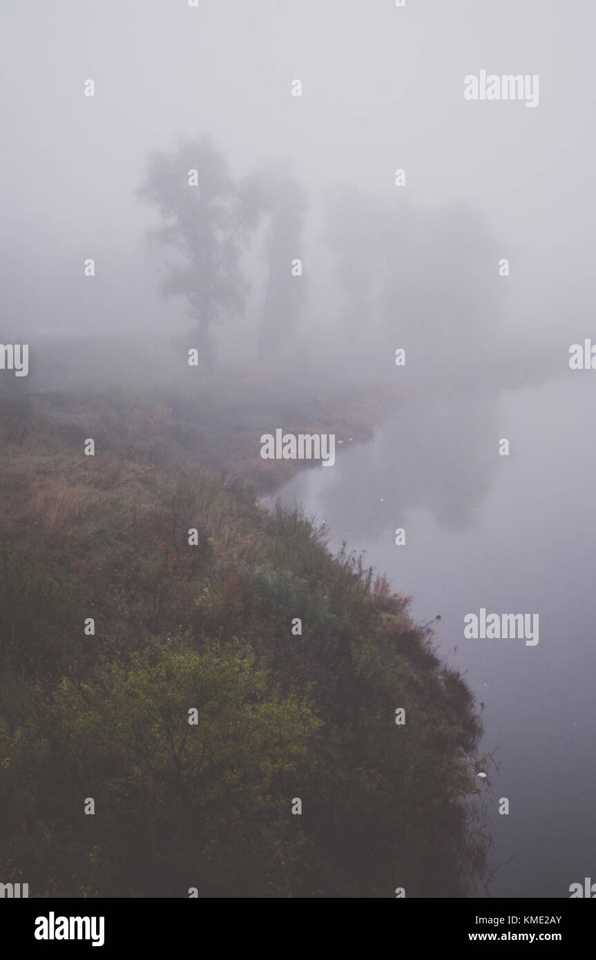 Misty morning landscape. River scene. - Stock Image