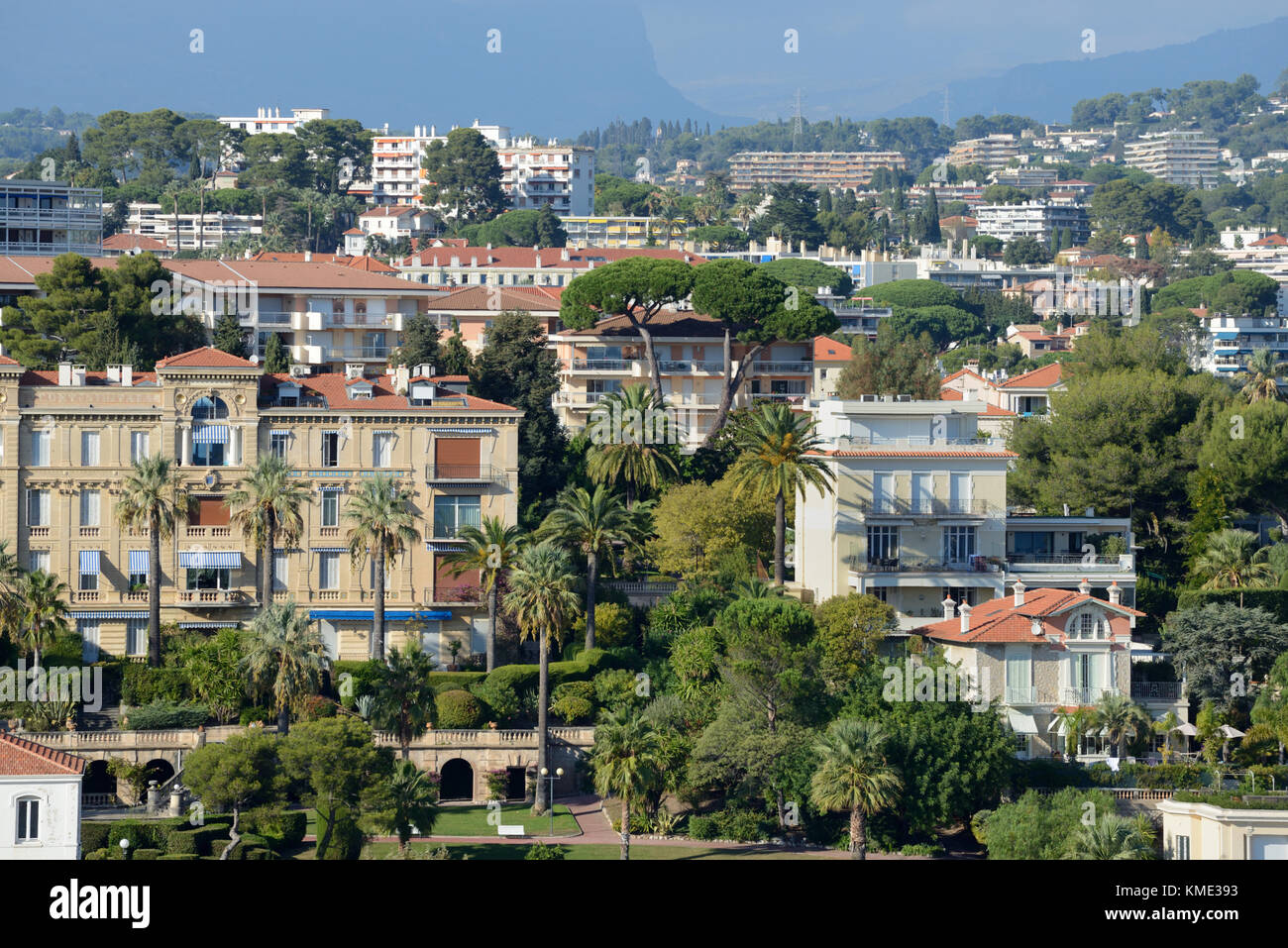 Aerial View over Historic Up-Market District in Cannes, with Belle Epoque Properties, Alpes-Maritimes, France - Stock Image