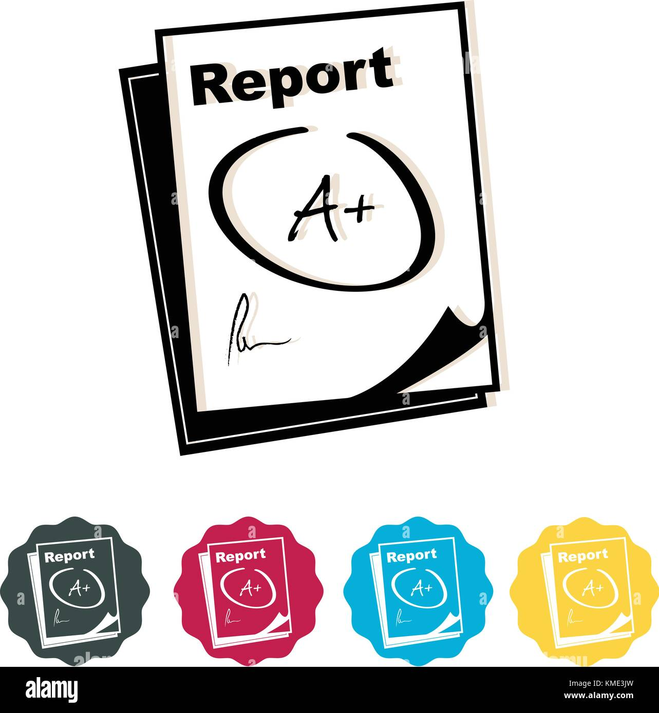 Report Card - Icon - Illustration as EPS 10 File - Stock Vector
