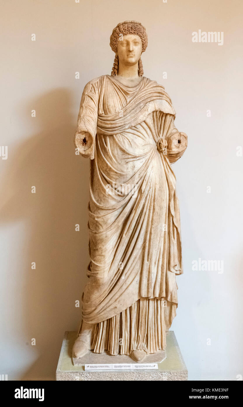 Statue from 1st century AD, probably of Poppaea Sabina, second wife of Emperor Nero, Archaeological Museum of Olympia, - Stock Image