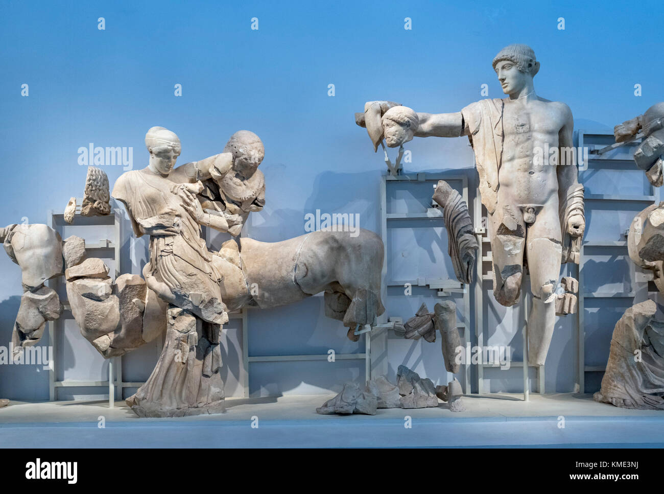 Sculptures from the west pediment of the Temple of Zeus, Archaeological Museum of Olympia, Olympia, Pelopponese, - Stock Image