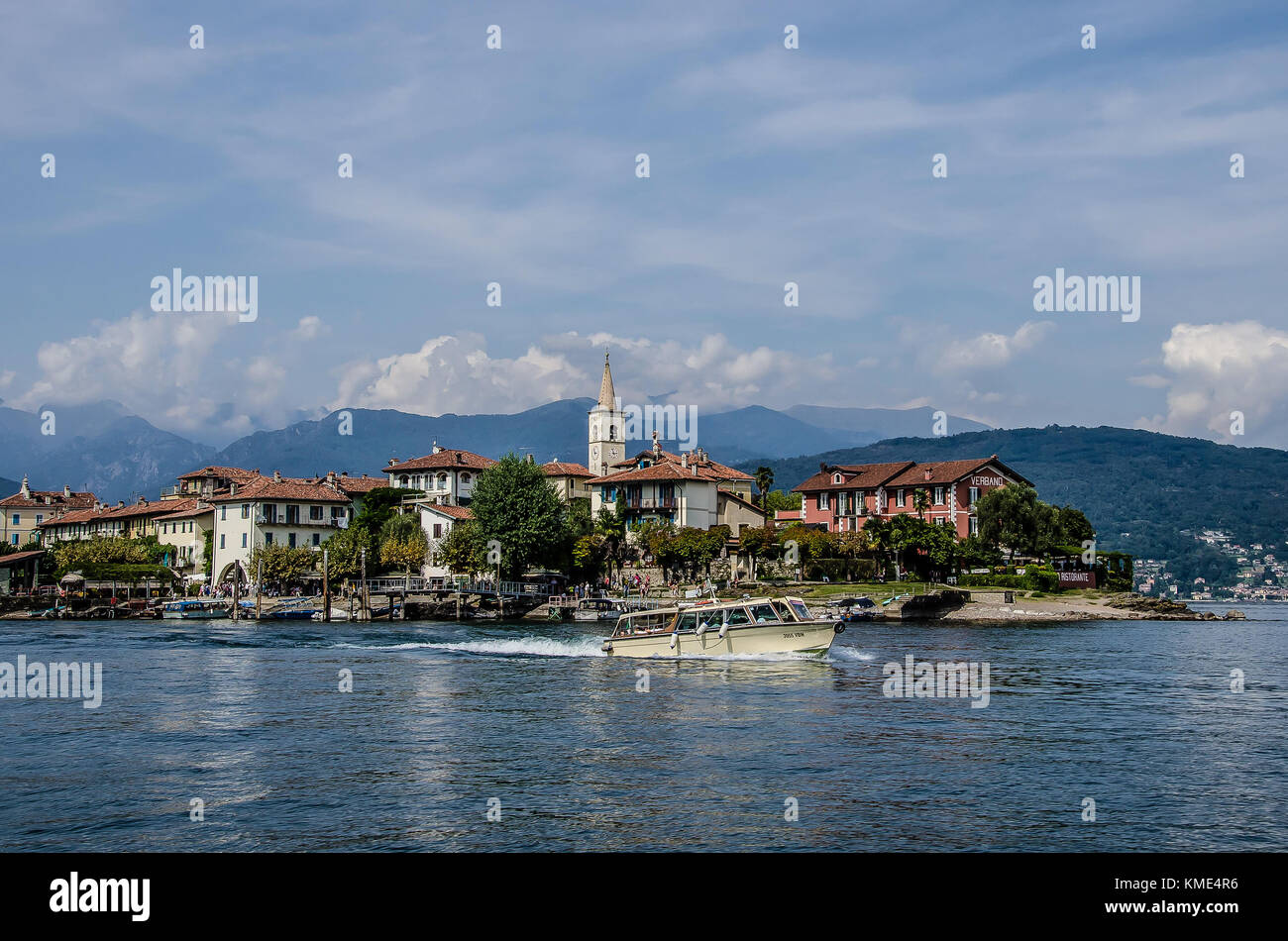 The only one of the three Borromean islands that is not owned by the royal Borromeo family, is the charming and - Stock Image