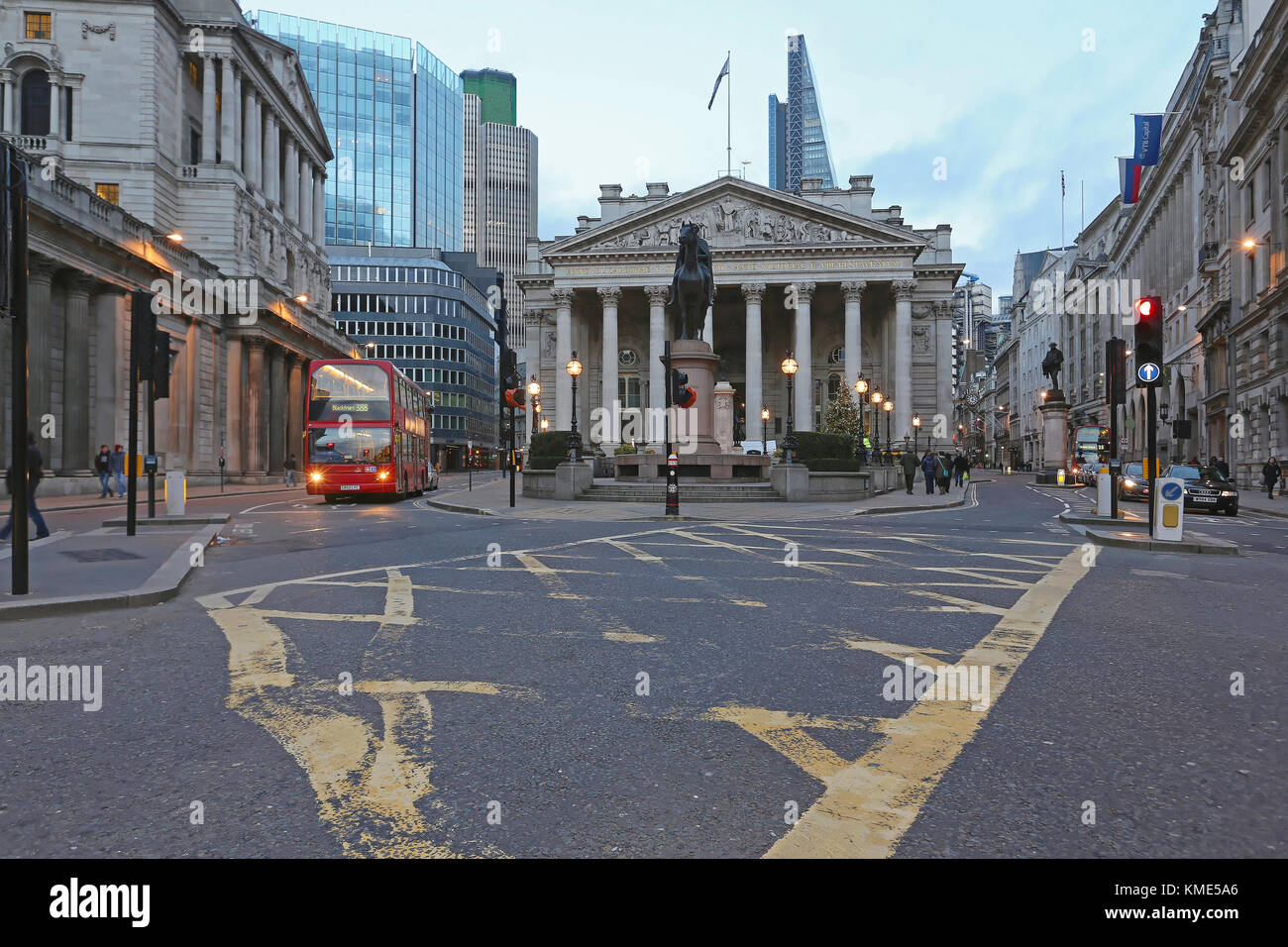 LONDON, UNITED KINGDOM - NOVEMBER 23: The Royal Exchange in London on NOVEMBER 23, 2013. Historic Building of Royal - Stock Image