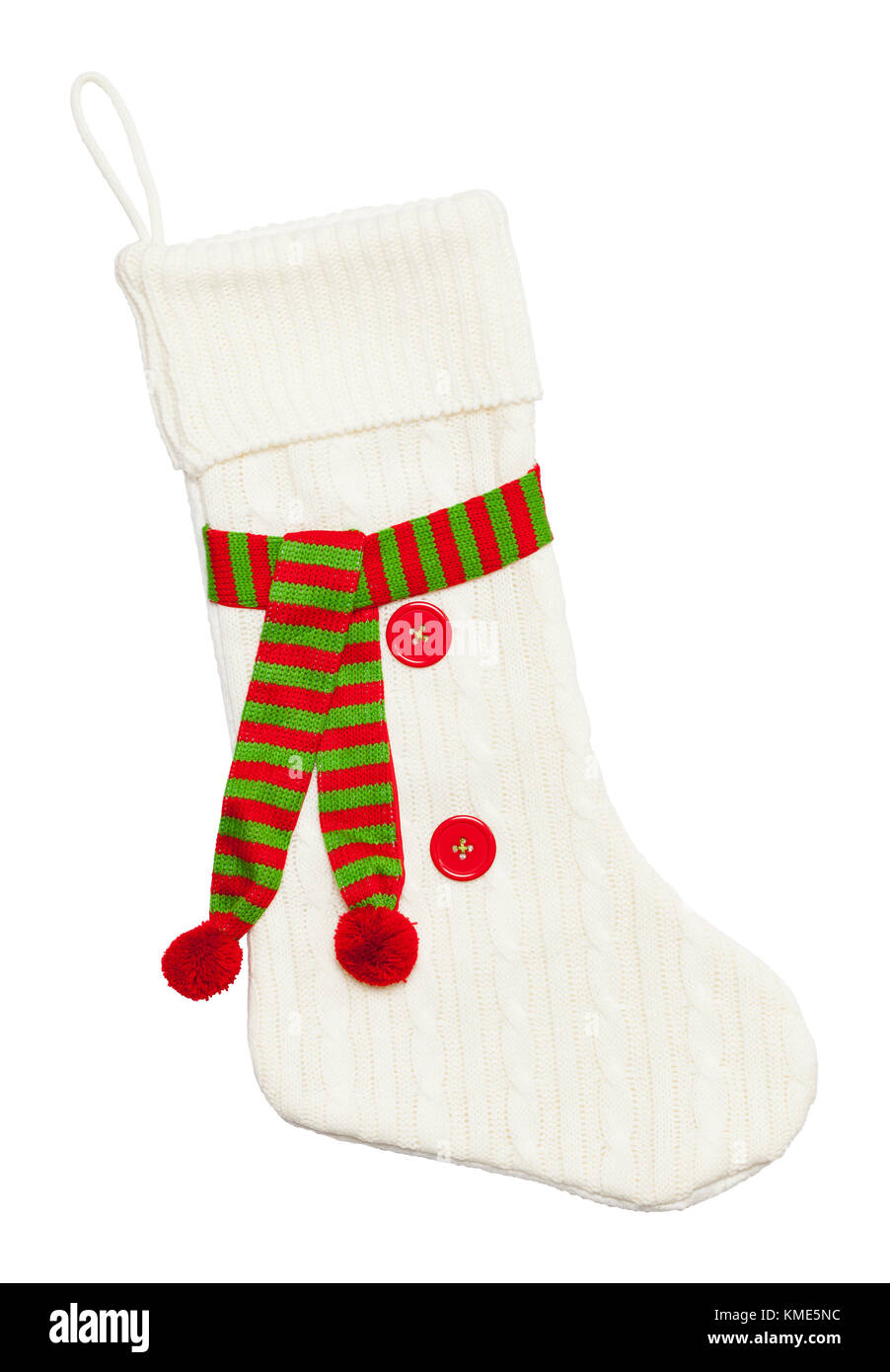 Sweater Christmas Stocking With Scarf and Buttons Isolated on a White Background. - Stock Image