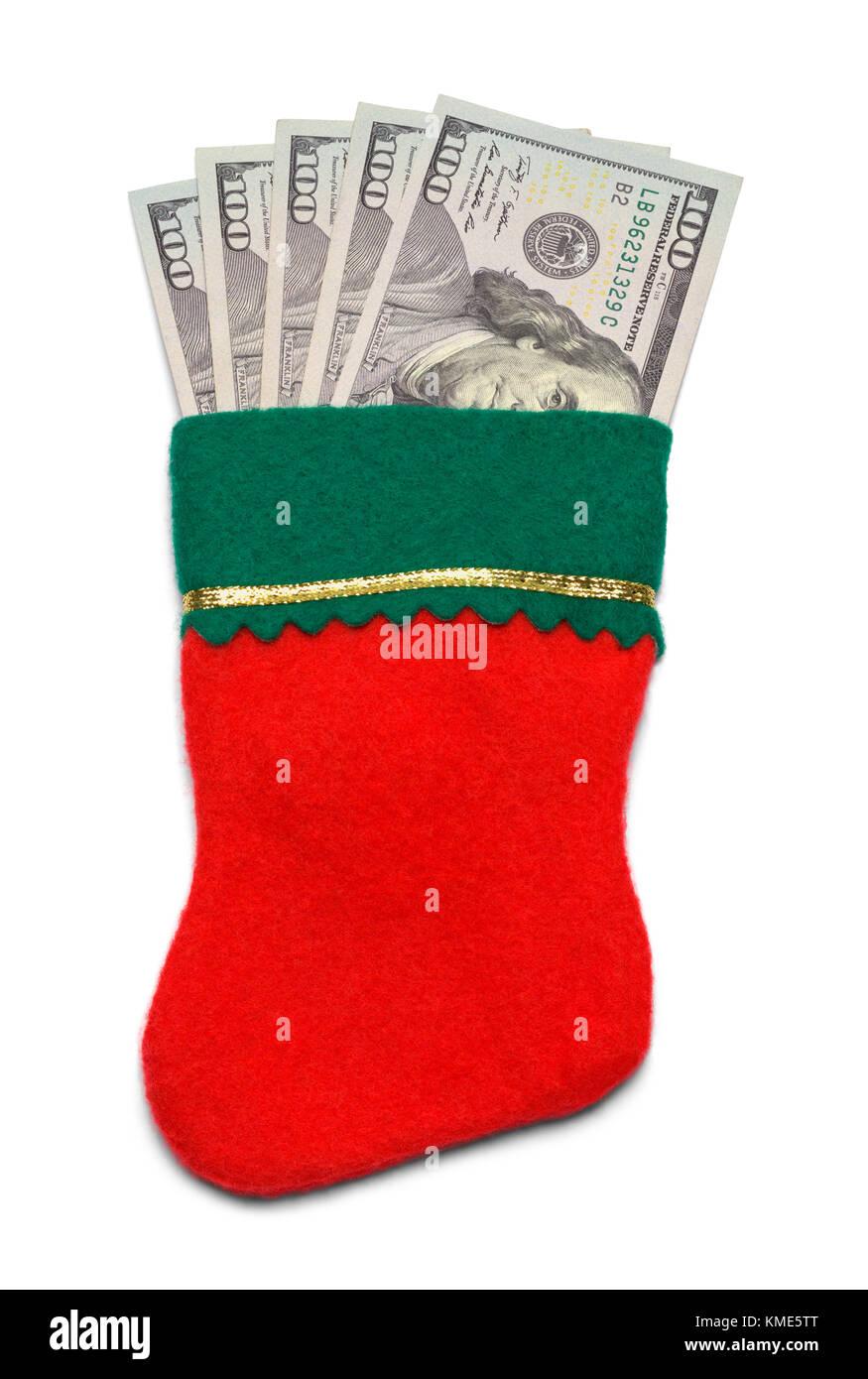 Christmas Stocking with Cash Money Isolated on a White Background. - Stock Image