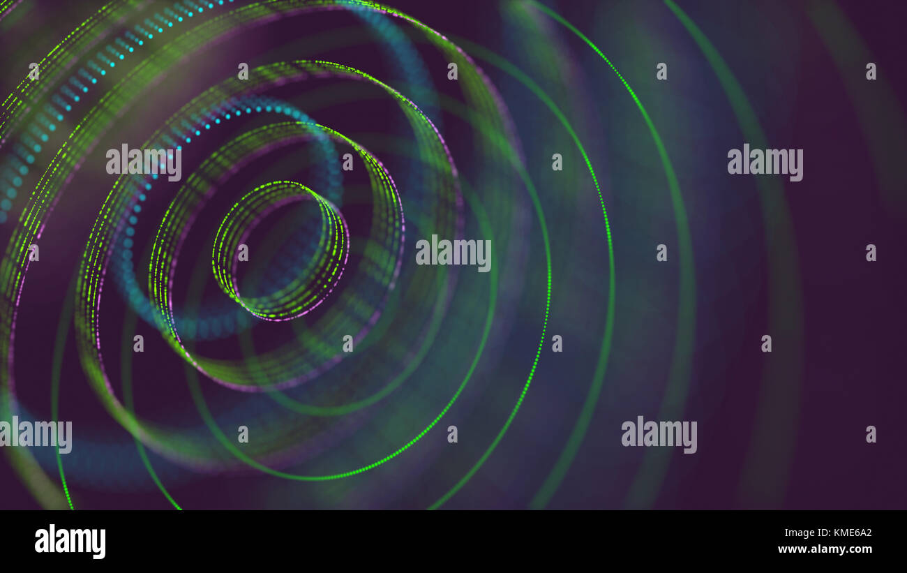 3D Illustration. Abstract image, holographic circles in connection points. - Stock Image