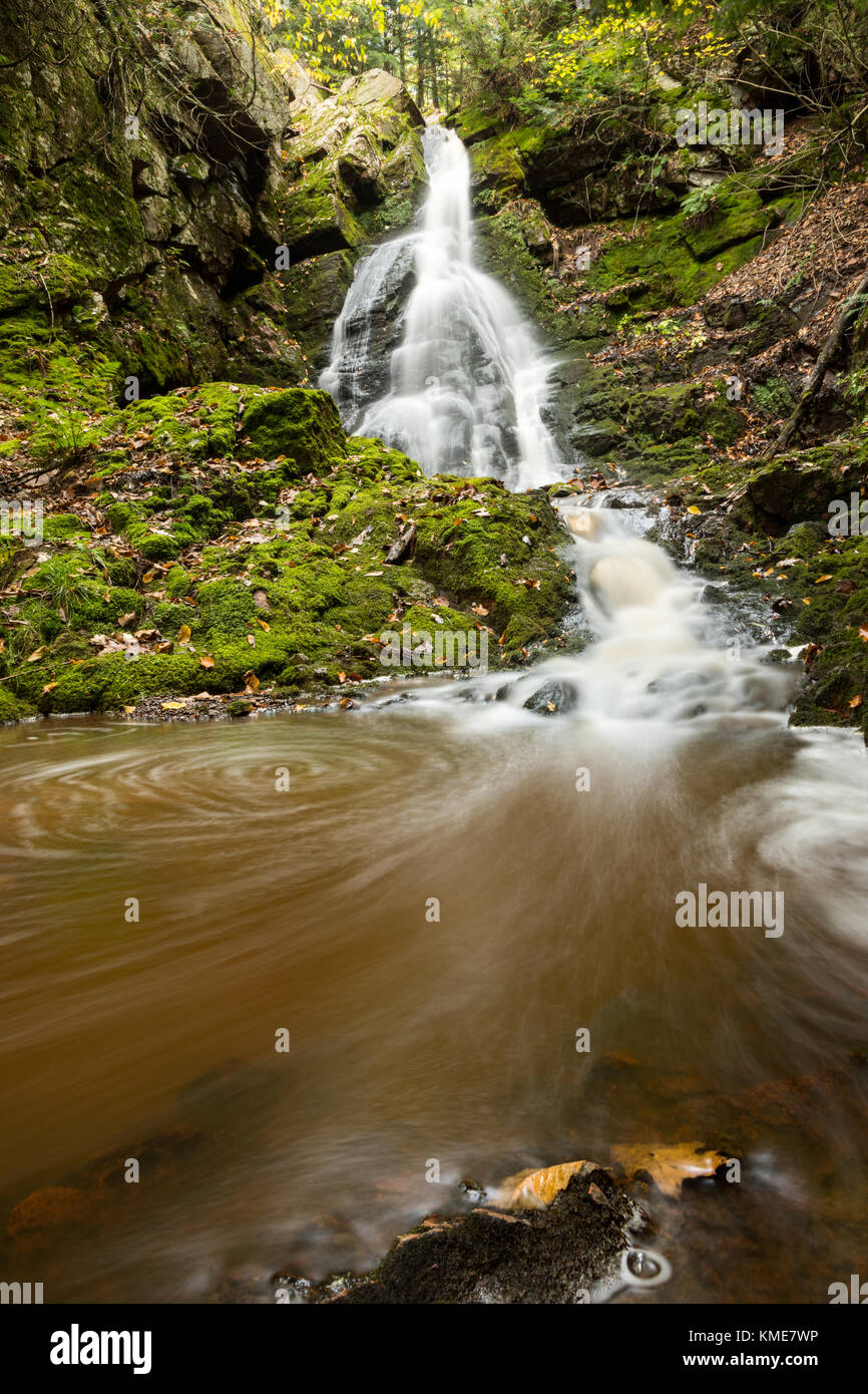 Little Trap Falls in the Upper Peninsula of Michigan, flows swiftly over a rocky gorge, along Anderson Creek, eventually - Stock Image