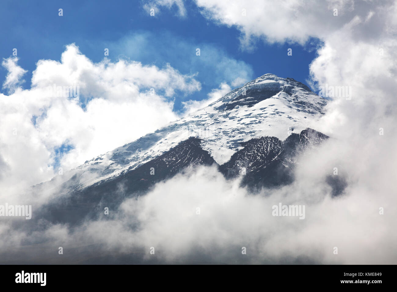 Cotopaxi Volcano - snow covered smoking summit of the second highest mountain in Ecuador, Cotopaxi National Park, - Stock Image