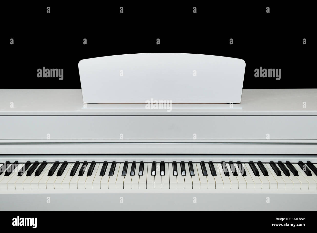 Digital white electric piano keys close up . - Stock Image