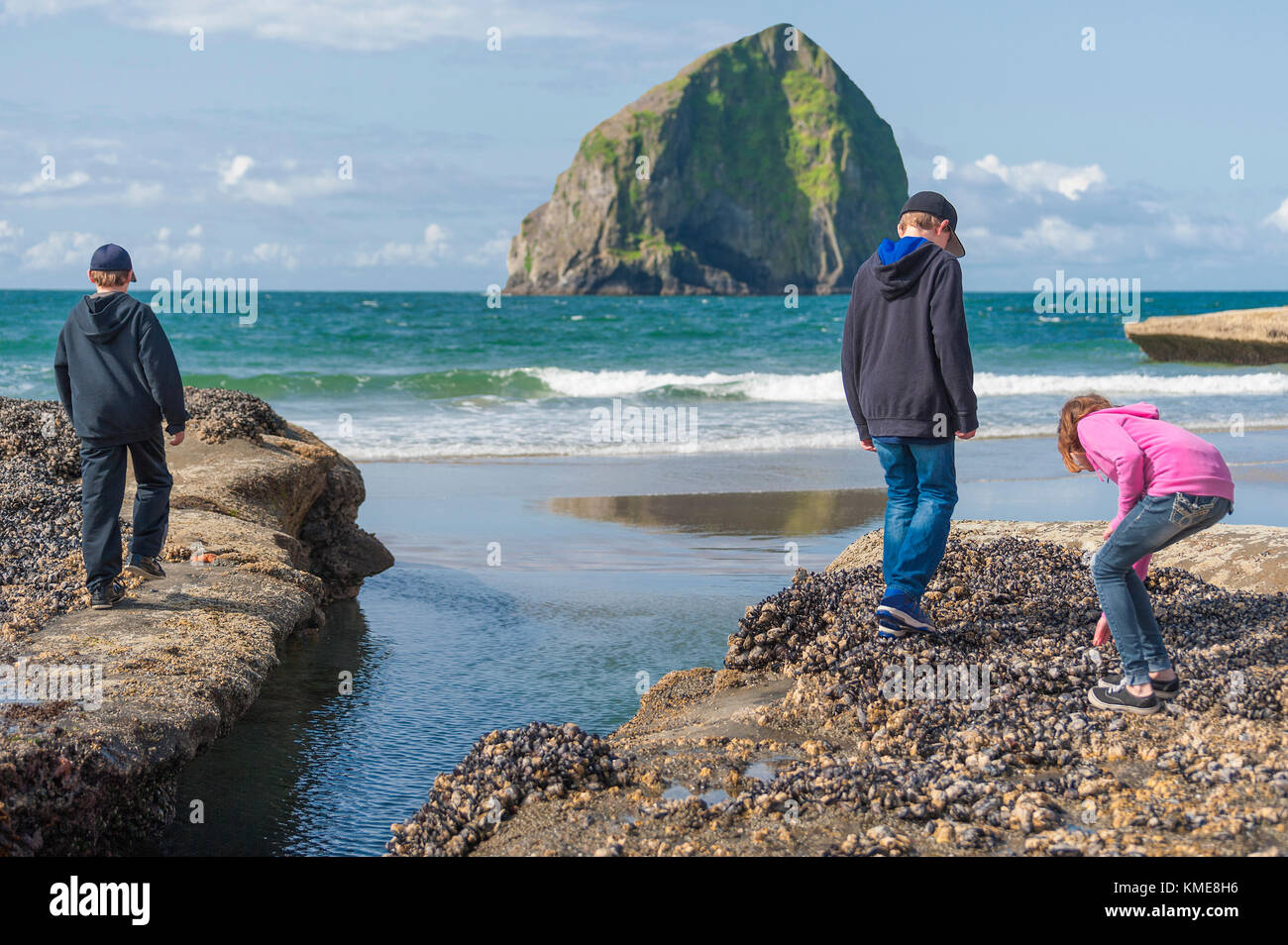 Siblings, two boys and a girl, explore the tide pools and intertidal rocks at Pacific City Oregon.  A landmark haystack - Stock Image
