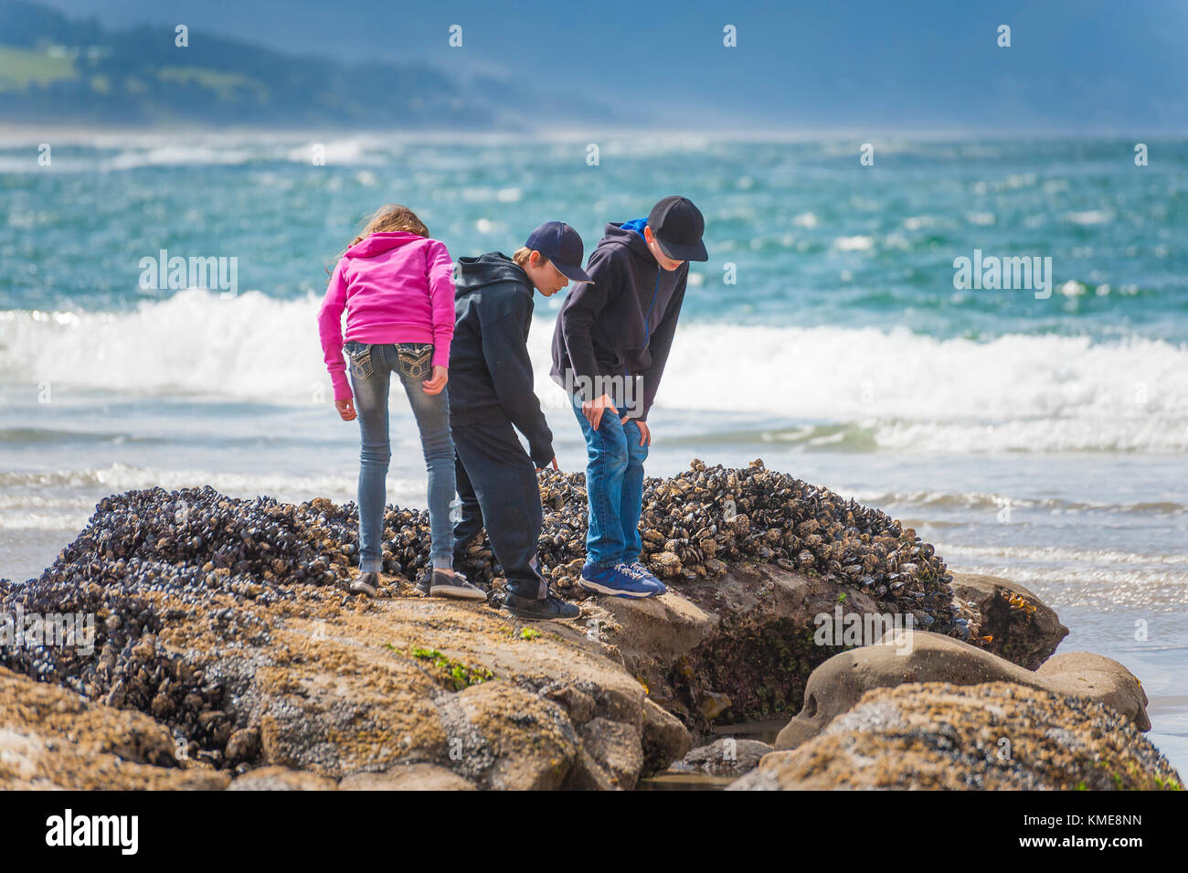 Spending time at Pacific City before going back home to Kelso - Stock Image
