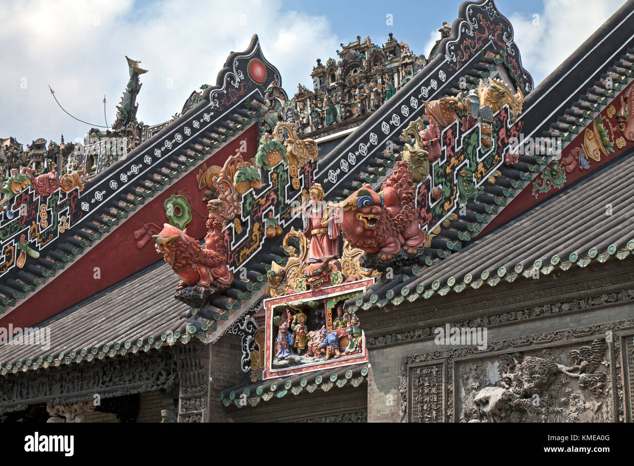 Roofing art detail, The Chen Clan Ancestral Hall in Guangzhou, China. Built by the 72 Chen clans for their juniors' - Stock Image