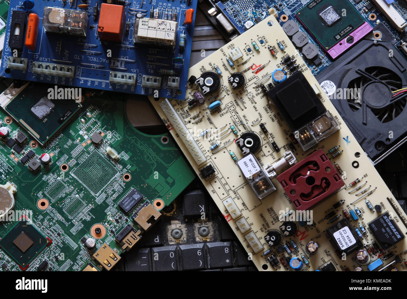 Scrap Computer Parts Stock Photos 10 Circuit Board Composition Notebook Waste Boards And Computers Uk Image
