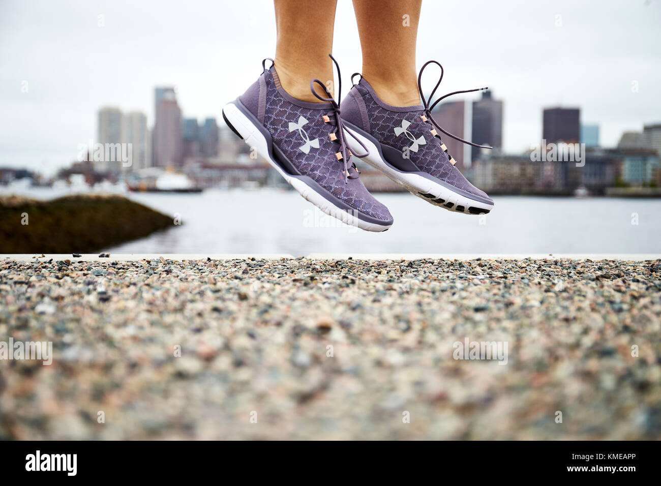 A close up of a pair of Under Armour running shoes. - Stock Image