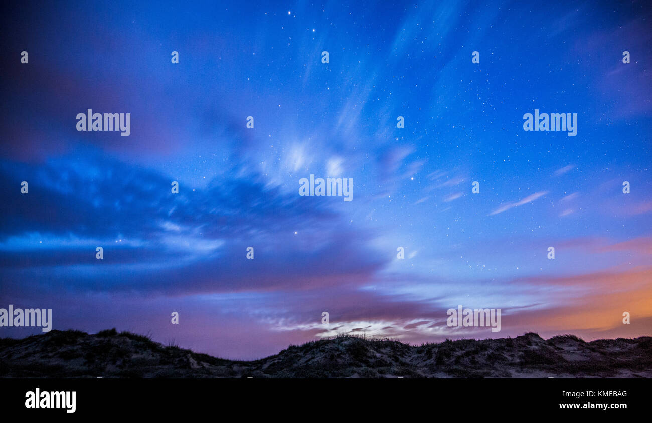 A night time landscape of the sand dunes at Padre Island National Seashore Stock Photo