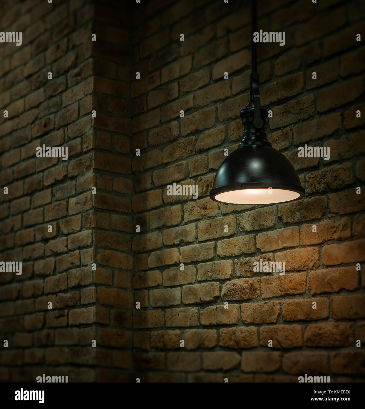 interior light decoration on a brick wall background coffee shop