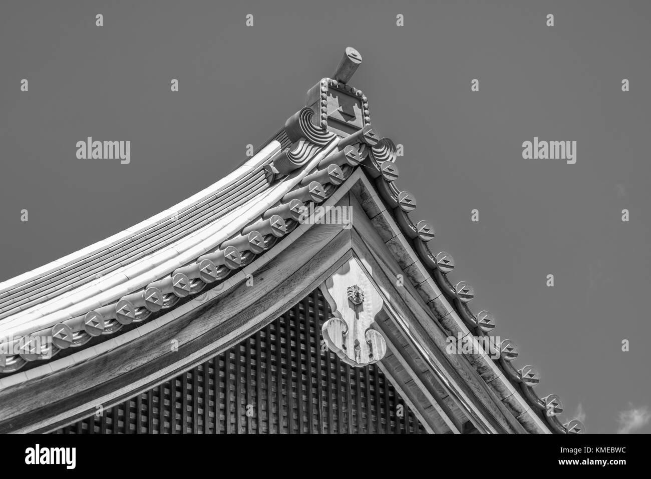 Roof ornaments of Butsuden Hall or Main Hall of Engaku-ji Zen Buddhist temple complex. Kamakura, Kanagawa Prefecture, - Stock Image