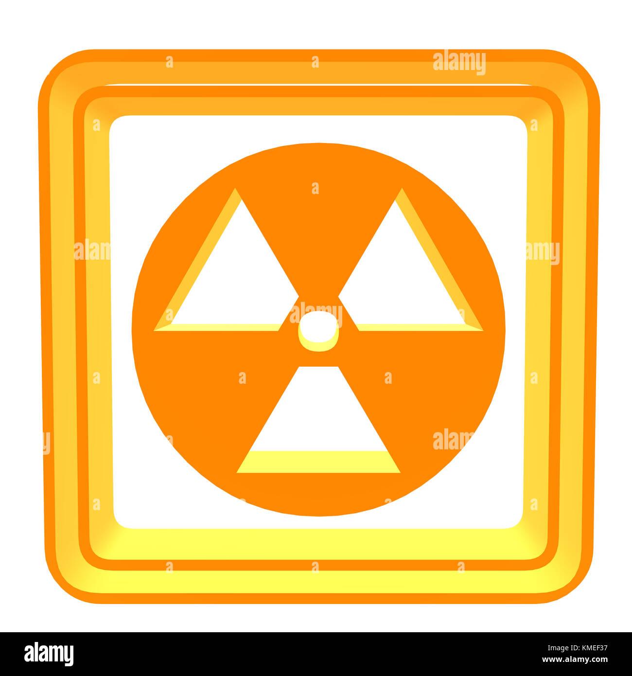 3D bio hazard symbol on a white background - Stock Image
