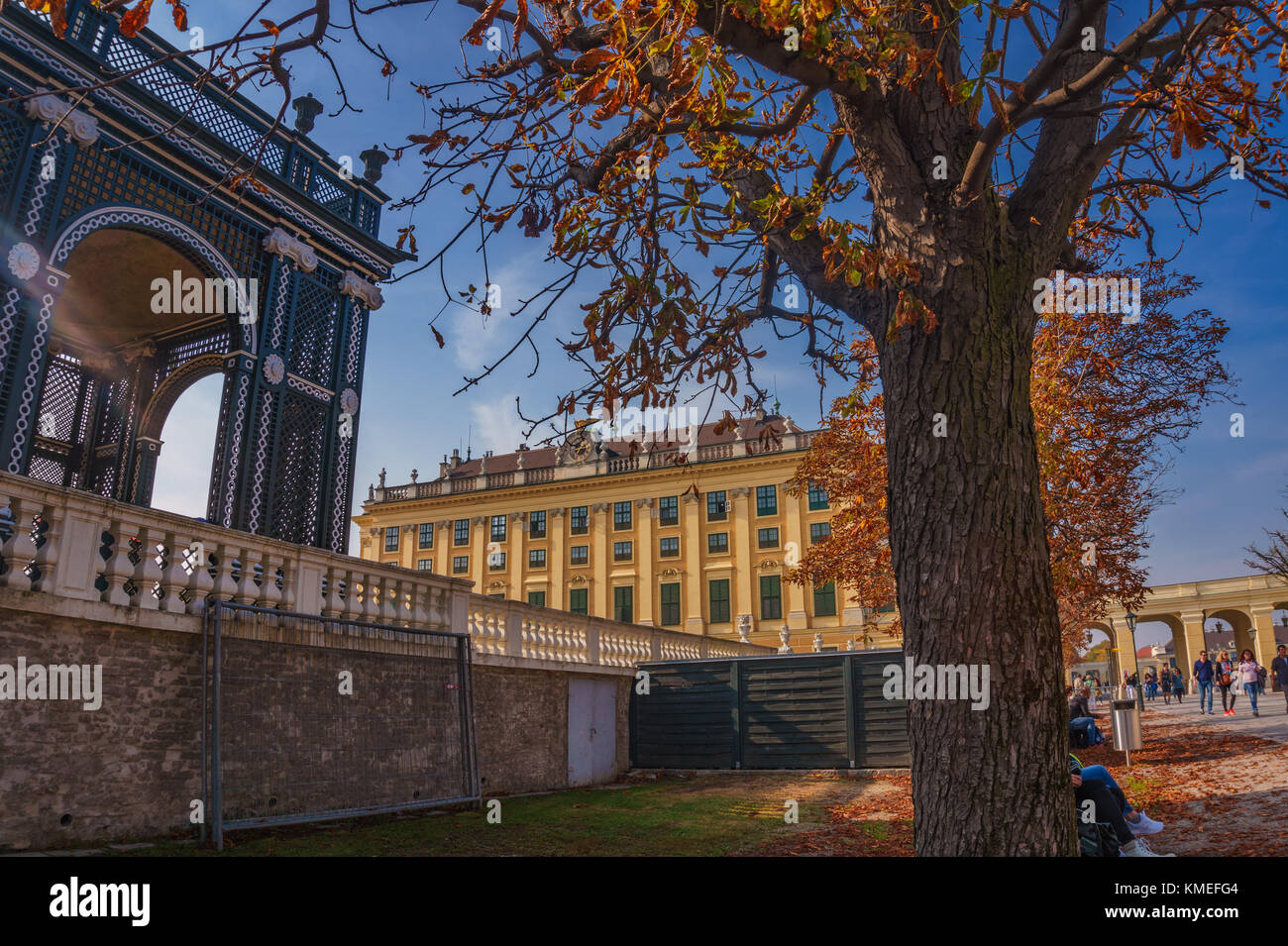 Surrounded area and gardens around the famous Schonbrunn Palace Vienna in Austria, Europe. - Stock Image