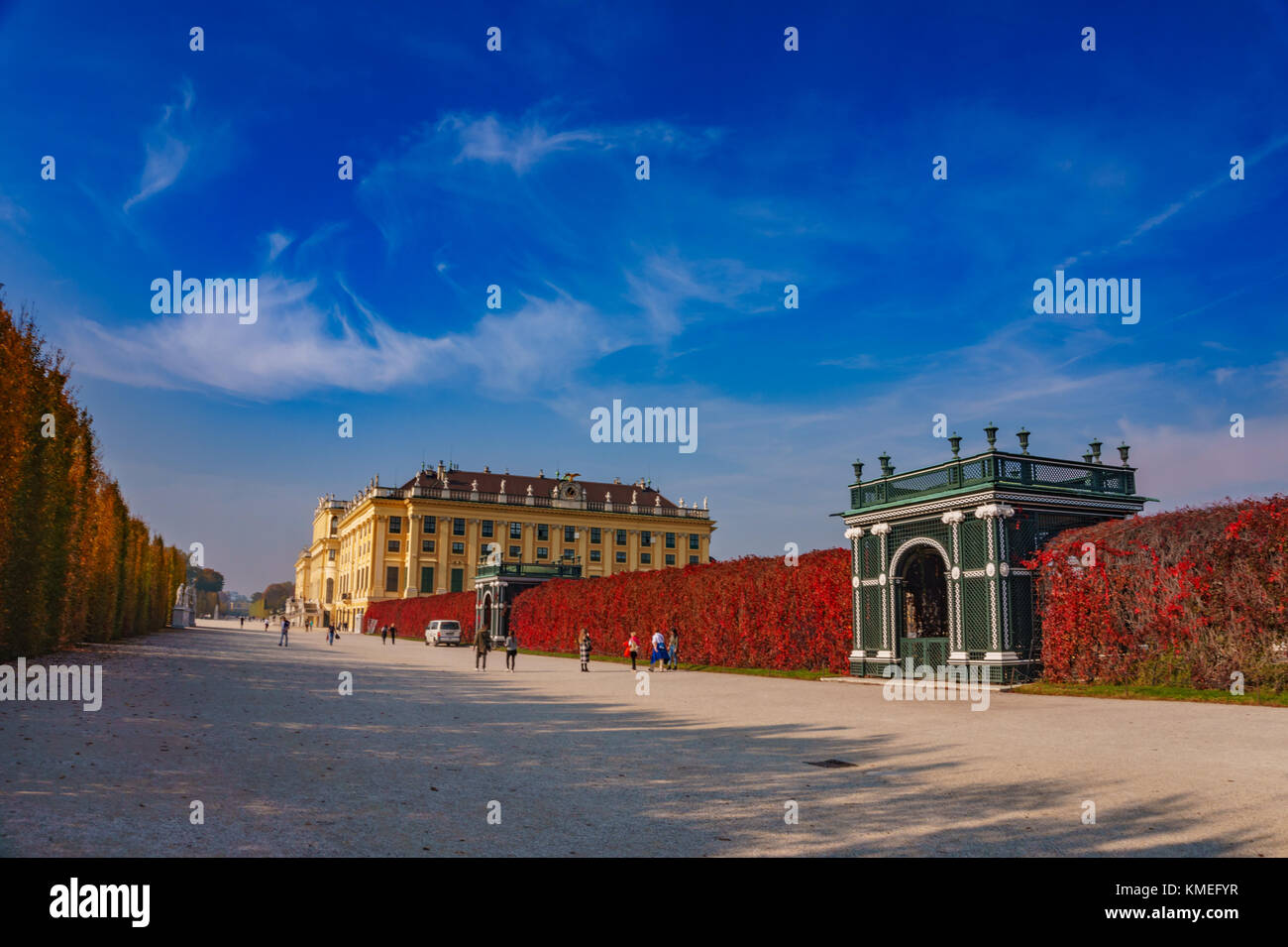 Surrounded area and gardens around the famous Schonbrunn Palace Vienna in Austria, Europe. Stock Photo