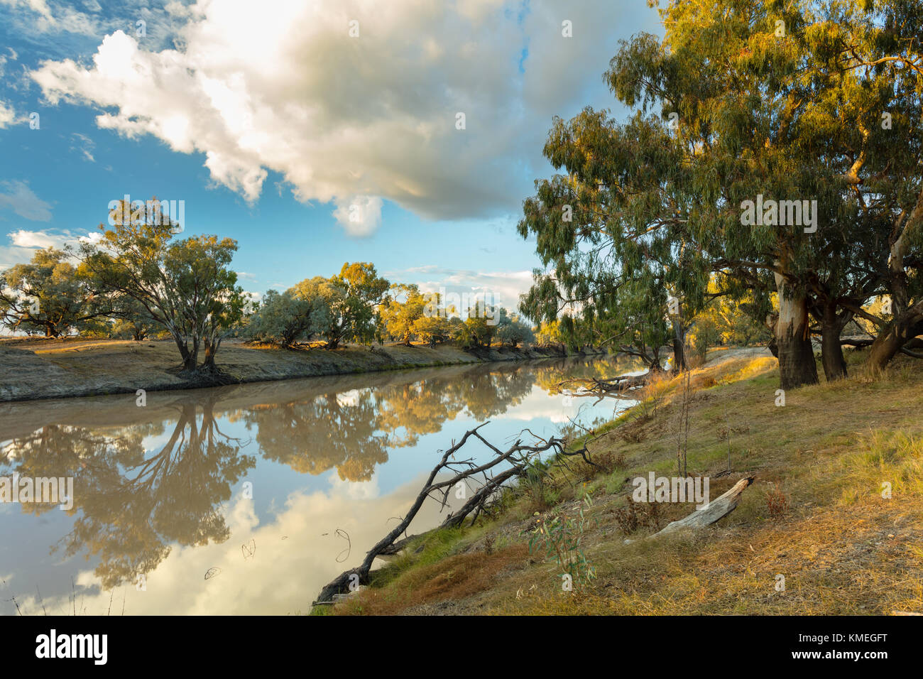 Darling River at sunrise near Bourke in outback north western New South Wales in Australia. - Stock Image