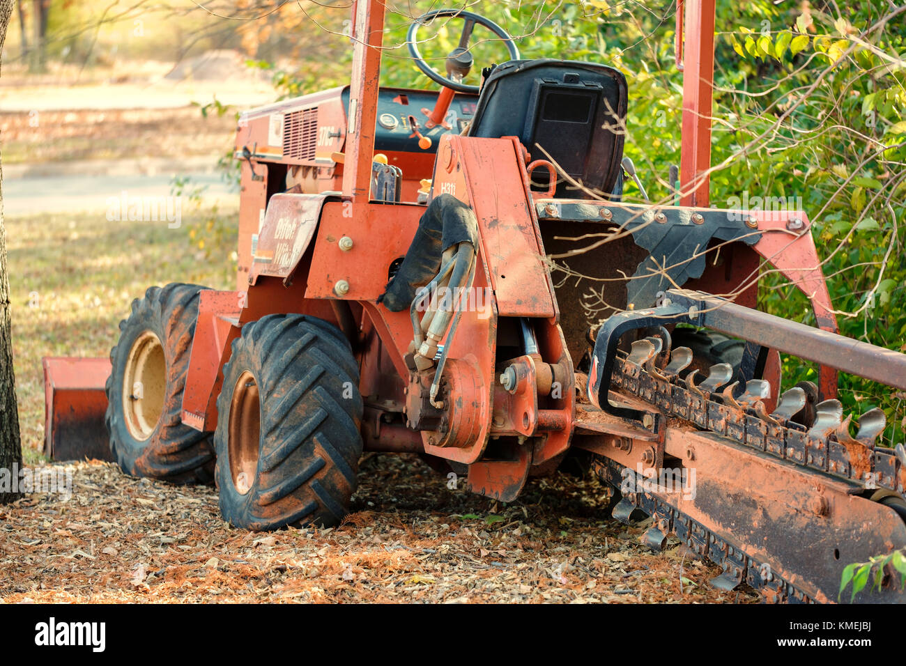 An old Ditch Witch trenching machine tractor used for gardening work